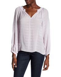 Rebecca Taylor | Purple Split Neck Silk Blouse | Lyst