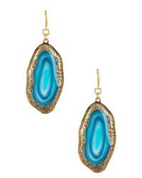 Kenneth Jay Lane - Blue Simulated Agate Dangle Earrings - Lyst