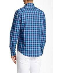 Tocco Toscano - Blue Spread Collar Plaid Shirt for Men - Lyst