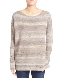 Joie - Gray 'viktoria' Metallic Stripe Drop Shoulder Pullover - Lyst