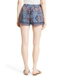 Joie - Blue Lindee Print Silk Shorts - Lyst