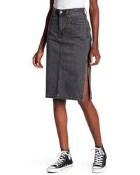 Levi's Black Side Slit Jean Skirt