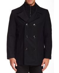 Kenneth Cole | Black Double Breasted Peacoat for Men | Lyst