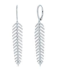 Ron Hami 14k White Gold Diamond Feather Drop Earrings - 0.60 Ctw