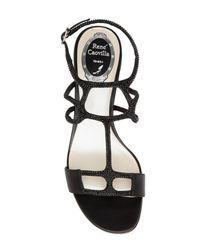 Rene Caovilla - Black Crystal Embellished Mid Sandal - Lyst