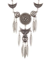 TMRW STUDIO - Multicolor Antique Silver Plated Engraved Y-drop Necklace - Lyst