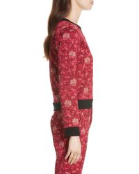 Alice + Olivia - Red Marylou Floral Jacquard Sweatshirt - Lyst