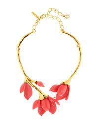 Oscar de la Renta - Multicolor Magnolia Resin & Swarovski Crystal Embellished Flower Necklace - Lyst