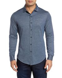 Bugatchi - Blue Regular Fit Pique Knit Sport Shirt for Men - Lyst