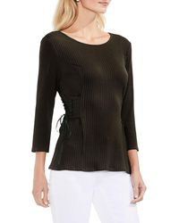 Vince Camuto - Black Lace-up Ribbed Top (regular & Petite) - Lyst
