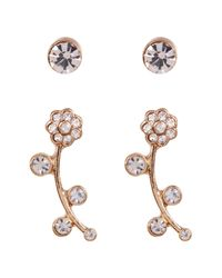 Joe Fresh - Multicolor Crystal Stud & Flower 2-piece Earring Set - Lyst