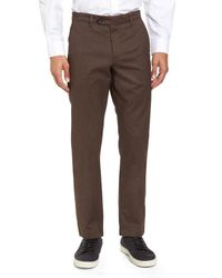 Ted Baker - Brown Freshman Modern Fit Brushed Pants for Men - Lyst