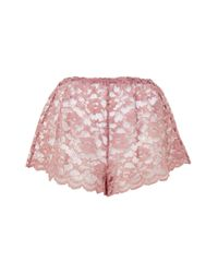 TOPSHOP - Pink Scallop Lace Shorts - Lyst