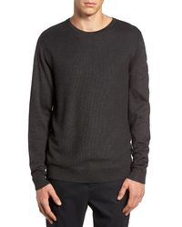 Calibrate - Gray Honeycomb Stitch Crewneck Sweater for Men - Lyst