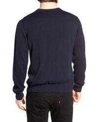 Psycho Bunny - Blue Pima Cotton Crewneck Sweater for Men - Lyst