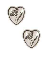 Gucci - Metallic Sterling Silver Flora Heart Stud Earrings - Lyst