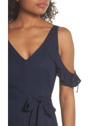PAIGE Blue Lystra Cold Shoulder Maxi Dress