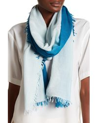 Eileen Fisher - Blue Ombre Dyed Wool Blend Scarf - Lyst