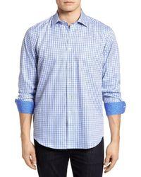 Bugatchi Blue Double Stripe Classic Fit Sport Shirt for men