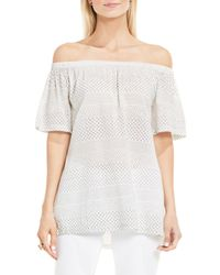 a601f871c9a6f Lyst - Vince Camuto Delicate Etchings Off The Shoulder Top in White