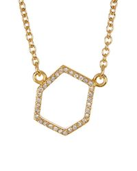 Rebecca Minkoff - Metallic Gem Hex Pave Pendant Necklace - Lyst