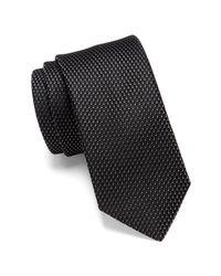 BOSS - Black Silk Two-tone Dash Tie for Men - Lyst