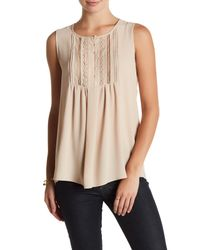 Pleione | Natural Sleeveless Front Lace Pleat Blouse | Lyst