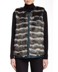 Catherine Malandrino | Black Pepper Faux Leather Trim & Faux Fur Vest | Lyst