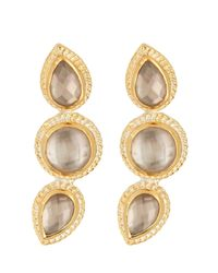 Anna Beck - Metallic 18k Gold Plated Sterling Silver Triple Smokey Quartz Stud Earrings - Lyst