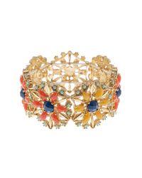 Sparkling Sage - Metallic 14k Gold Plated Floral Stretch Bracelet - Lyst