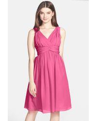 Donna Morgan - Pink 'jessie' Silk Chiffon Twist Dress - Lyst