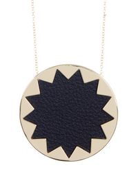 House of Harlow 1960 - Multicolor Leather Detail Sunburst Pendant Necklace - Lyst