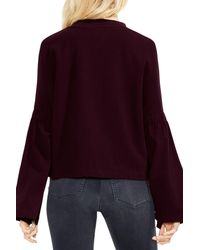 Two By Vince Camuto - Purple Mock Neck Bell Sleeve Top - Lyst