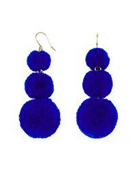 BaubleBar - Blue Pom Pom Crispin Ball Drop Earrings - Lyst