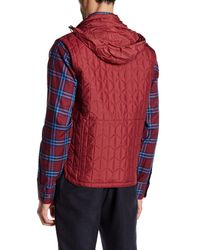 Bugatchi - Red Quilted Stowable Hood Vest for Men - Lyst