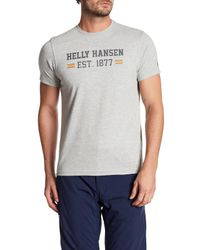 Helly Hansen | Gray Graphic Crew Neck T-shirt for Men | Lyst