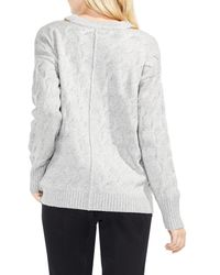 Vince Camuto - Gray Keyhole Neck Cable Sweater (petite) - Lyst