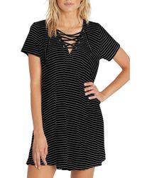Billabong - Black Long Ago Lace-up T-shirt Dress - Lyst