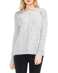 Vince Camuto - Gray Keyhole Neck Cable Sweater - Lyst