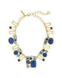 Oscar de la Renta - Blue Geometric Resin & Swarovski Crystal Embellished Necklace - Lyst
