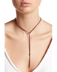 Sparkling Sage - Brown Detailed Faux Suede Choker & Y Necklace - Lyst