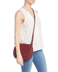 Vince Camuto - Red Kirie Suede & Leather Crossbody Saddle Bag - Lyst