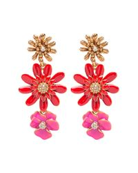 Oscar de la Renta - Red Painted Floral Clip On Drop Earrings - Lyst