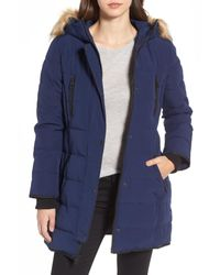 Guess - Blue Hooded Jacket With Faux Fur Trim - Lyst