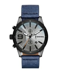 DIESEL - Multicolor Men's Rasp Chrono 46 Gunmetal Ip And Denim Leather Chronograph Watch, 46mm X 54mm for Men - Lyst