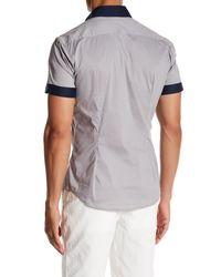 Parke & Ronen - Gray Colorblock Short Sleeve Slim Fit Shirt for Men - Lyst