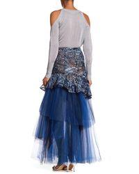 BCBGMAXAZRIA Blue Embroidered Mesh Skirt