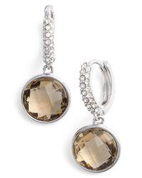 Judith Jack - Brown Swarovski Crystal Accented Stone Drop Earrings - Lyst