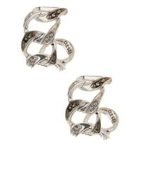 Judith Jack   Multicolor Sterling Silver Glitter Links Hoop Earrings   Lyst