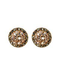 Judith Jack - Metallic 10k Gold Plated Cz & Marcasite Halo Stud Earrings - Lyst